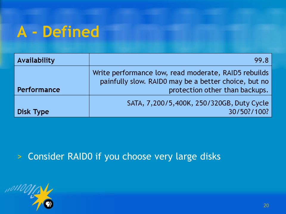 20 A - Defined >Consider RAID0 if you choose very large disks Availability99.8 Performance Write performance low, read moderate, RAID5 rebuilds painfu