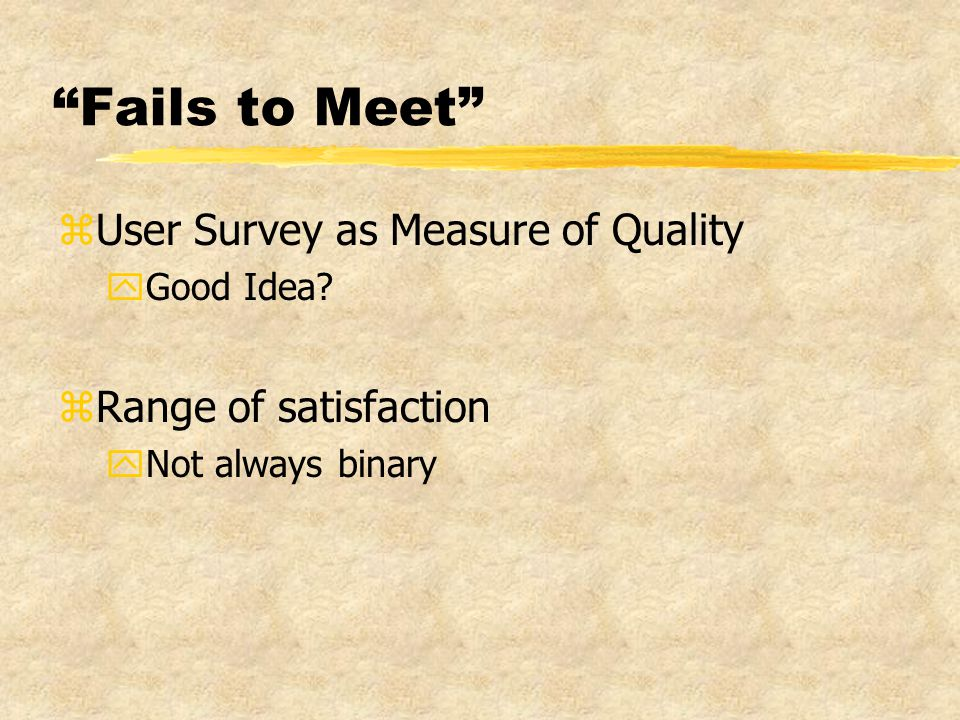 Fails to Meet zUser Survey as Measure of Quality yGood Idea.