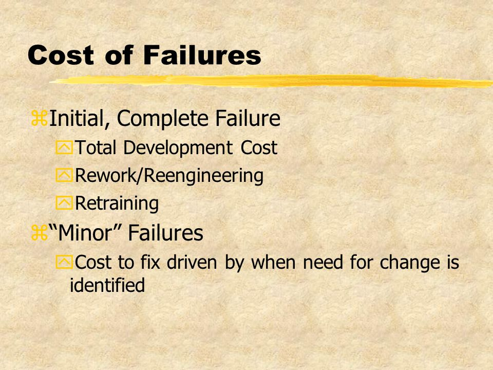 Cost of Failures zInitial, Complete Failure yTotal Development Cost yRework/Reengineering yRetraining z Minor Failures yCost to fix driven by when need for change is identified