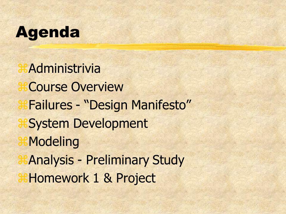 Agenda zAdministrivia zCourse Overview zFailures - Design Manifesto zSystem Development zModeling zAnalysis - Preliminary Study zHomework 1 & Project