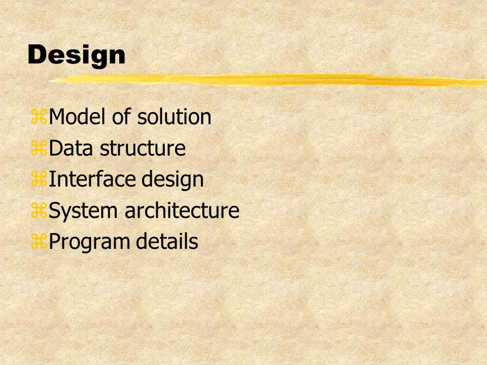 Design zModel of solution zData structure zInterface design zSystem architecture zProgram details