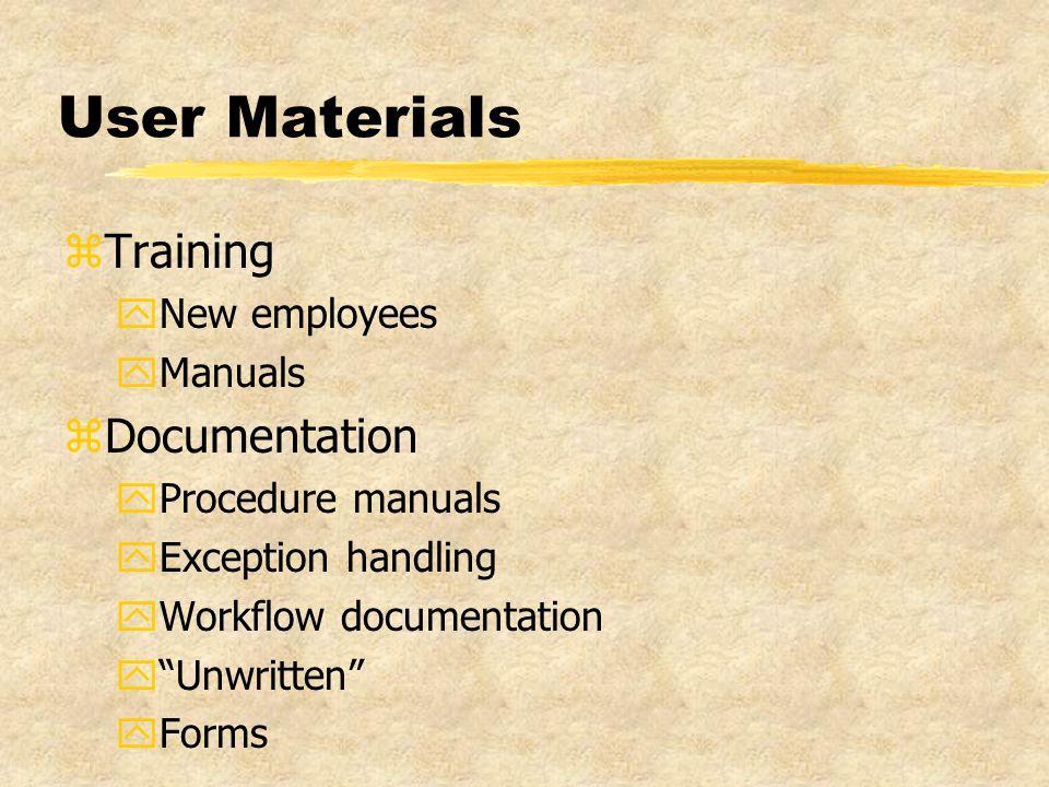 User Materials zTraining yNew employees yManuals zDocumentation yProcedure manuals yException handling yWorkflow documentation y Unwritten yForms