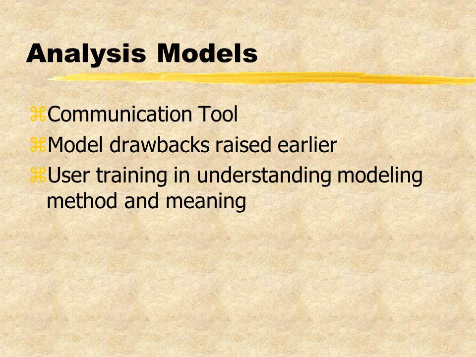 Analysis Models zCommunication Tool zModel drawbacks raised earlier zUser training in understanding modeling method and meaning