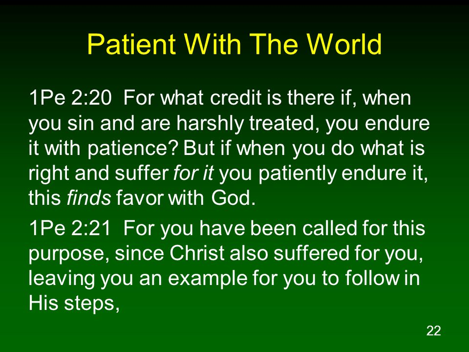 22 Patient With The World 1Pe 2:20 For what credit is there if, when you sin and are harshly treated, you endure it with patience.