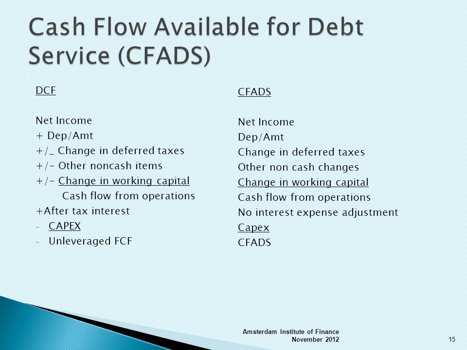 DCF Net Income + Dep/Amt +/_ Change in deferred taxes +/- Other noncash items +/- Change in working capital Cash flow from operations +After tax interest - CAPEX - Unleveraged FCF Amsterdam Institute of Finance November 201215 CFADS Net Income Dep/Amt Change in deferred taxes Other non cash changes Change in working capital Cash flow from operations No interest expense adjustment Capex CFADS