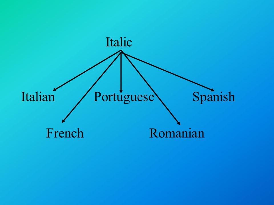 Italic Italian Portuguese Spanish French Romanian
