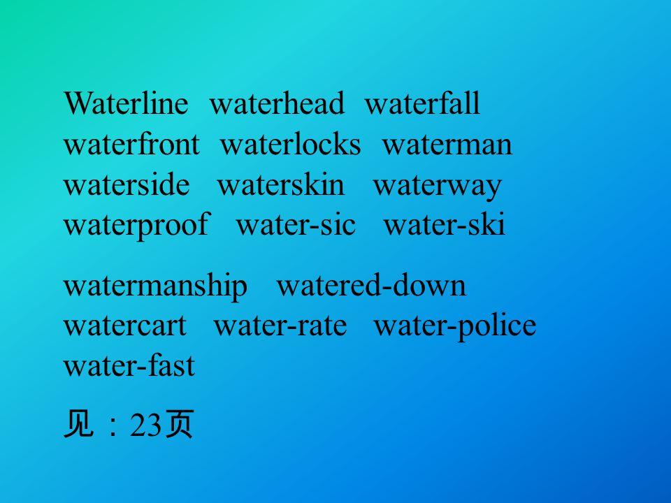 Waterline waterhead waterfall waterfront waterlocks waterman waterside waterskin waterway waterproof water-sic water-ski watermanship watered-down watercart water-rate water-police water-fast 见: 23 页