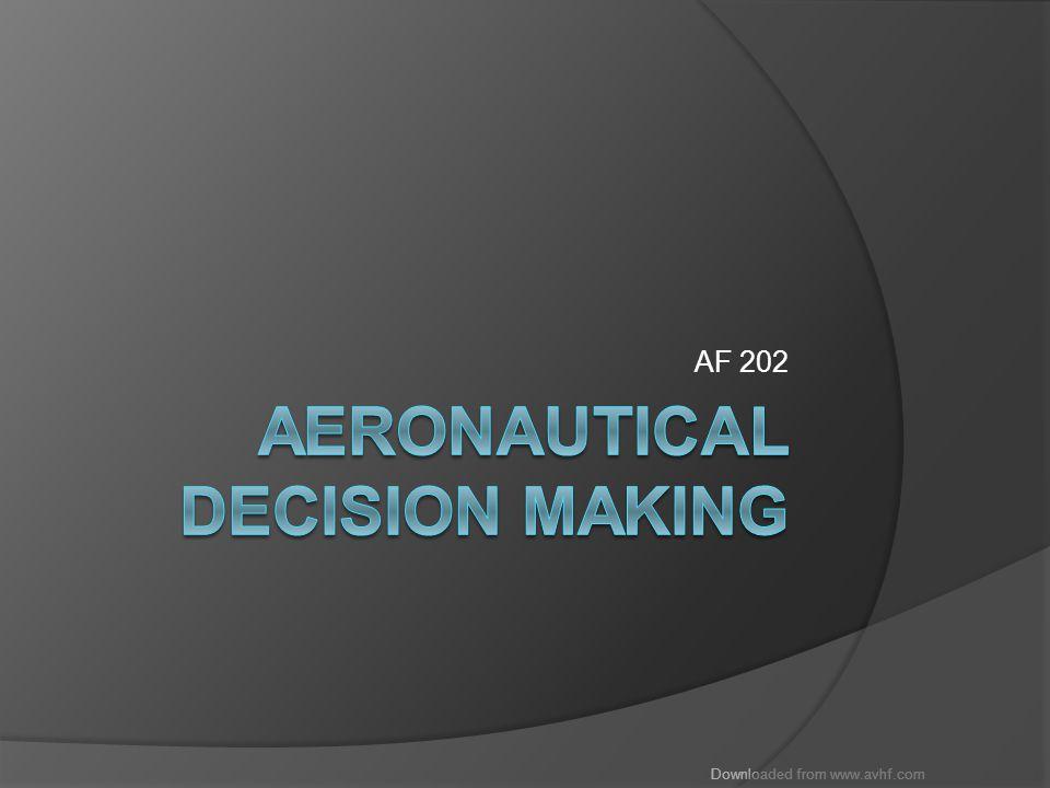 Downloaded from www.avhf.com Objectives  Intro  Decision Making Risk Assessment Hazardous Attitudes Hazard Detection DECIDE model