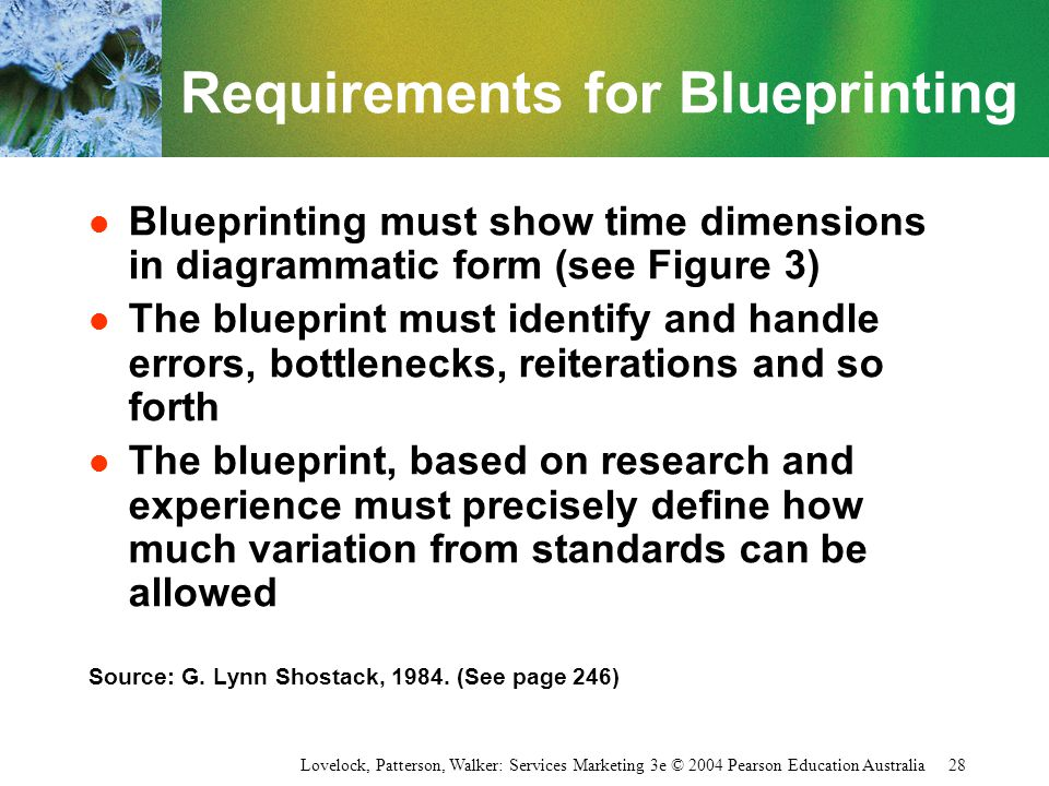 Lovelock, Patterson, Walker: Services Marketing 3e © 2004 Pearson Education Australia 28 Requirements for Blueprinting l Blueprinting must show time d