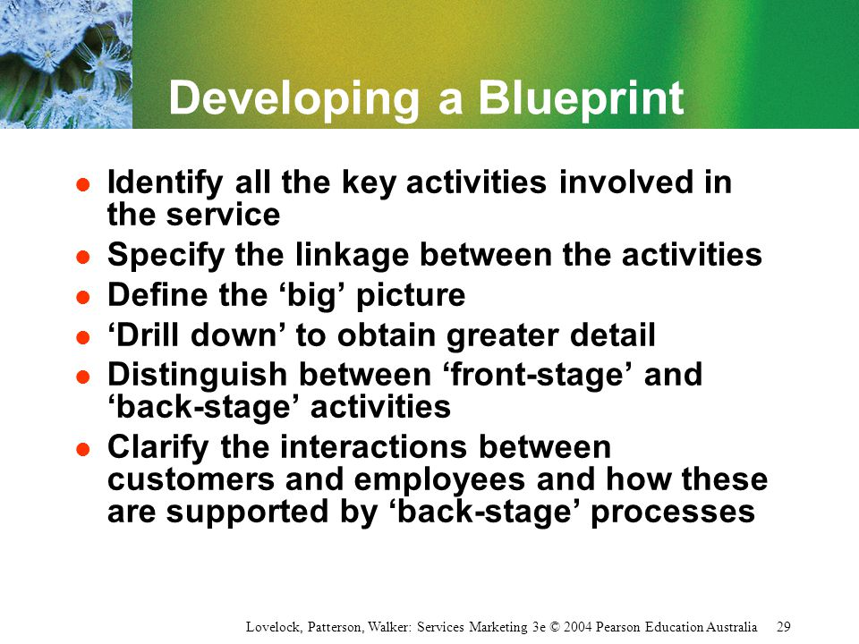Lovelock, Patterson, Walker: Services Marketing 3e © 2004 Pearson Education Australia 29 Developing a Blueprint l Identify all the key activities invo