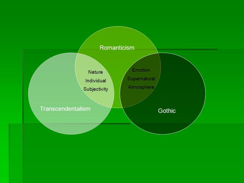Emotion Supernatural Atmosphere Nature Individual Subjectivity Transcendentalism Gothic Romanticism