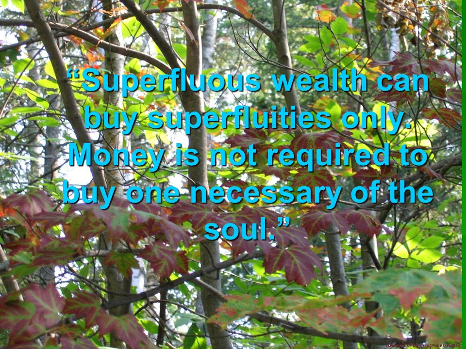 """""""Superfluous wealth can buy superfluities only. Money is not required to buy one necessary of the soul."""""""