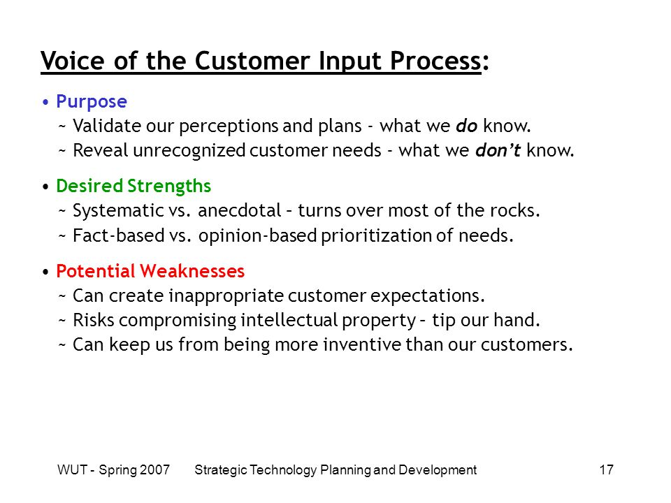 WUT - Spring 2007Strategic Technology Planning and Development17 Voice of the Customer Input Process: Purpose ~ Validate our perceptions and plans - what we do know.