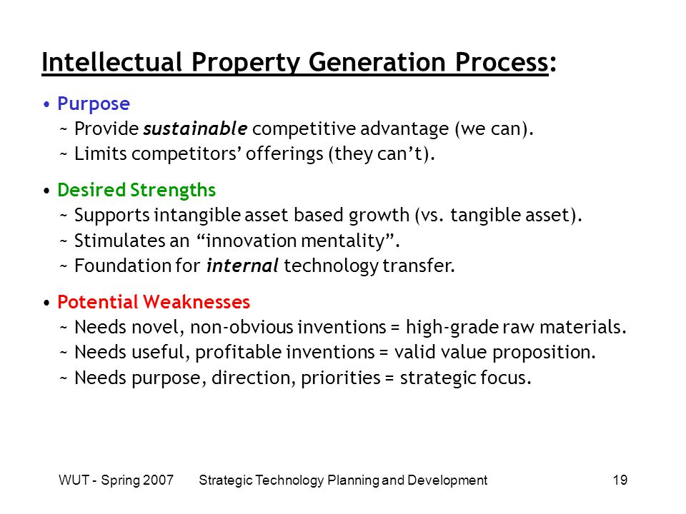 WUT - Spring 2007Strategic Technology Planning and Development19 Intellectual Property Generation Process: Purpose ~ Provide sustainable competitive advantage (we can).