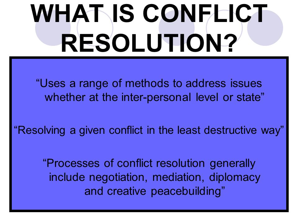 WHAT IS CONFLICT RESOLUTION.