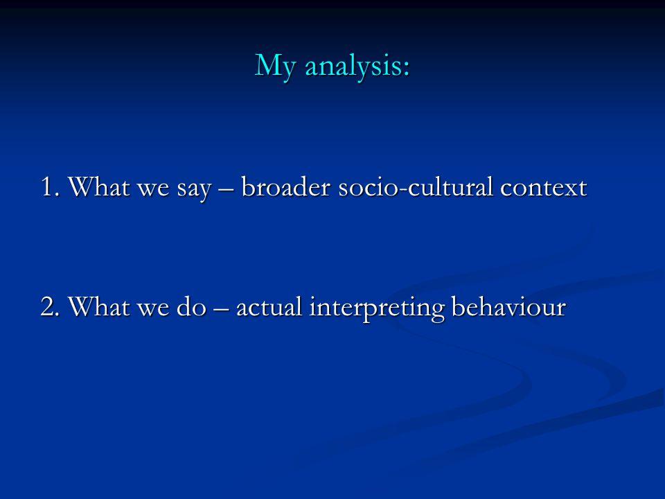 My analysis: 1. What we say – broader socio-cultural context 2.