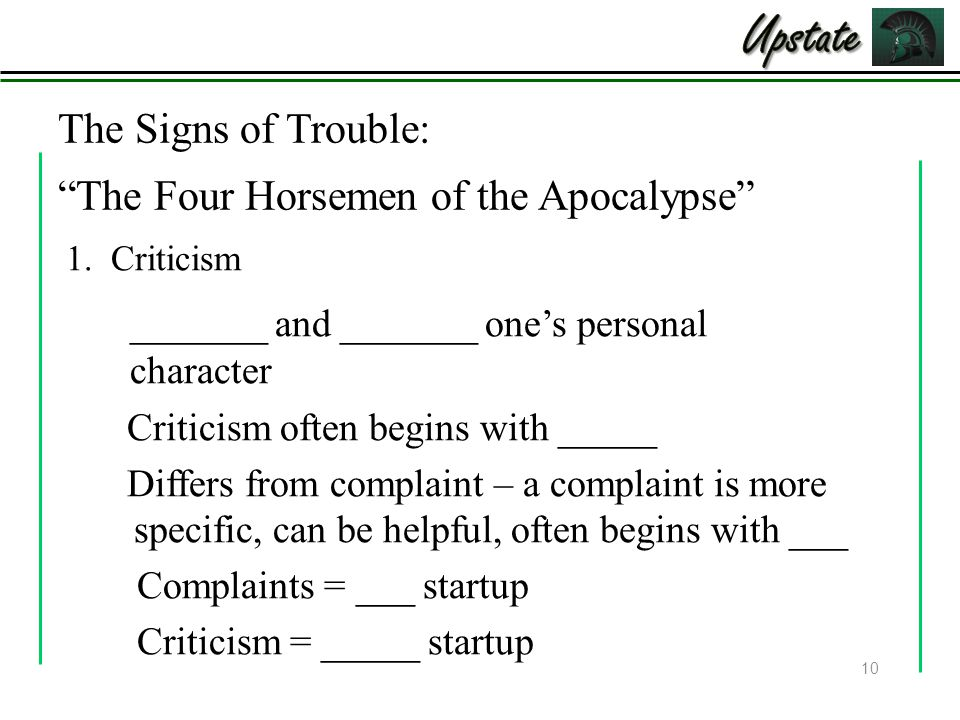 The Signs of Trouble: The Four Horsemen of the Apocalypse Criticism often begins with _____ Differs from complaint – a complaint is more specific, can be helpful, often begins with ___ Complaints = ___ startup Criticism = _____ startup 10 1.