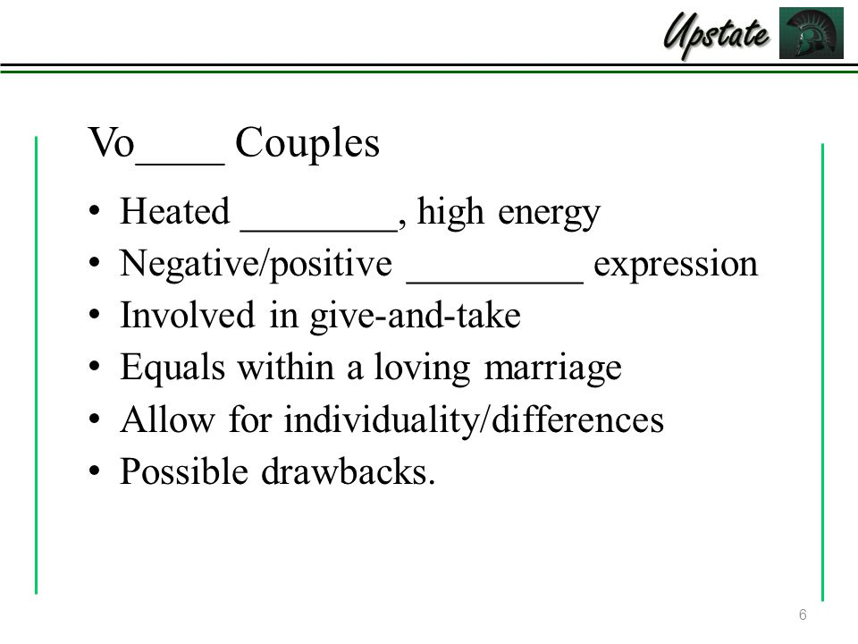Vo____ Couples Heated ________, high energy Negative/positive _________ expression Involved in give-and-take Equals within a loving marriage Allow for individuality/differences Possible drawbacks.