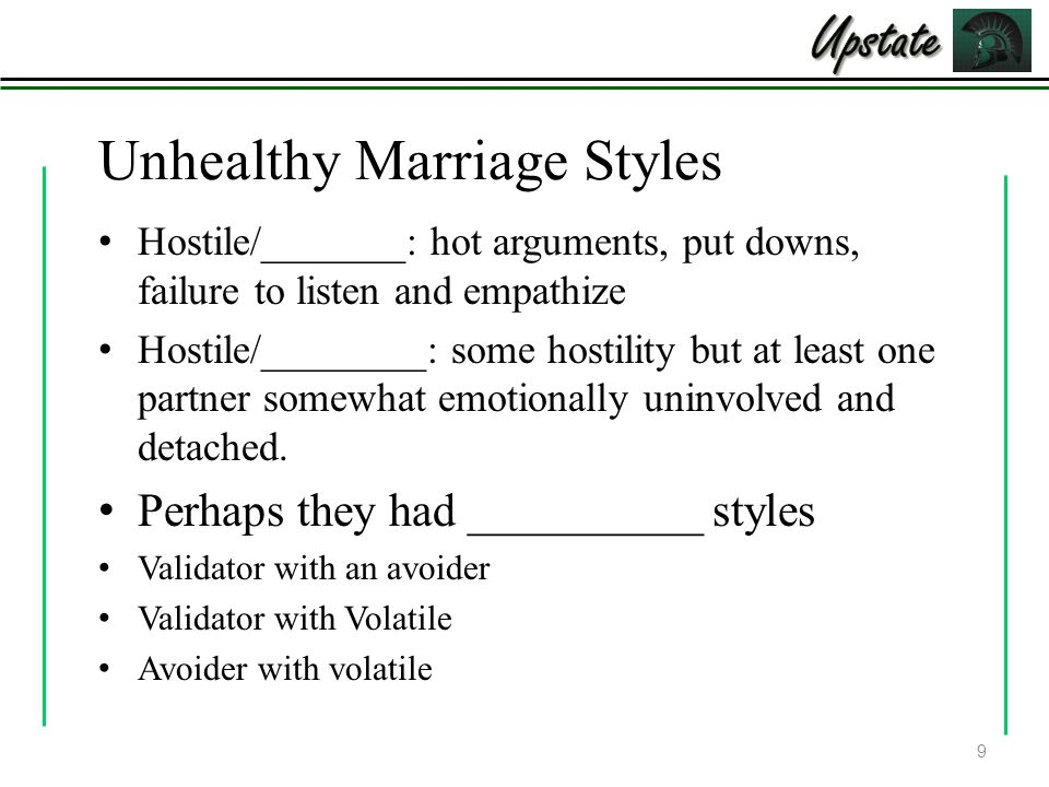 Unhealthy Marriage Styles Hostile/_______: hot arguments, put downs, failure to listen and empathize Hostile/________: some hostility but at least one partner somewhat emotionally uninvolved and detached.