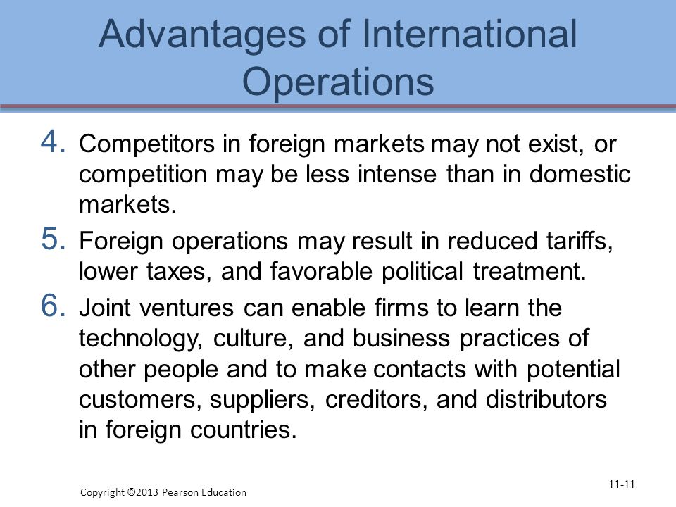 Advantages of International Operations 4.
