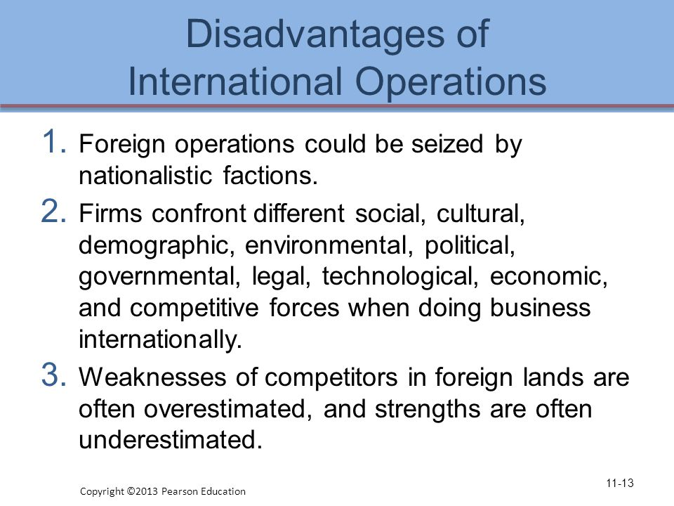 Disadvantages of International Operations 1.