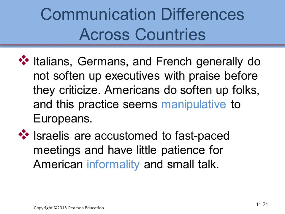 Communication Differences Across Countries  Italians, Germans, and French generally do not soften up executives with praise before they criticize.