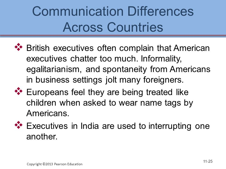 Communication Differences Across Countries  British executives often complain that American executives chatter too much.