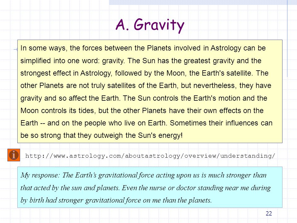 22 In some ways, the forces between the Planets involved in Astrology can be simplified into one word: gravity.