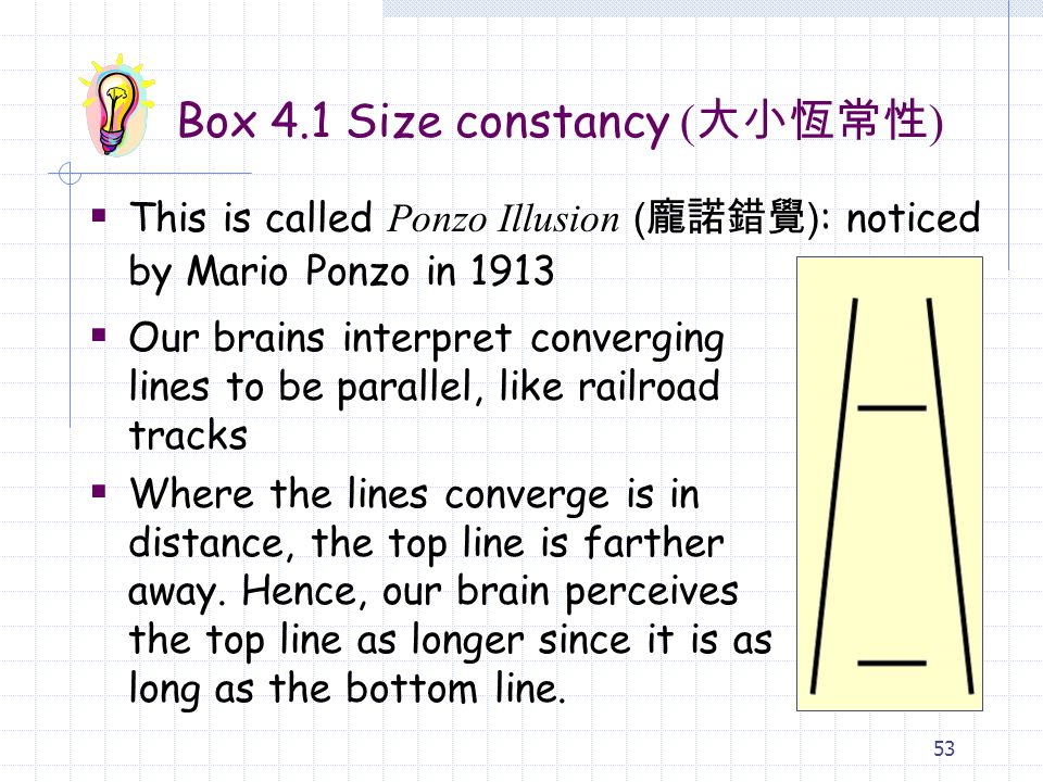 53 Box 4.1 Size constancy ( 大小恆常性 )  This is called Ponzo Illusion ( 龐諾錯覺 ) : noticed by Mario Ponzo in 1913  Our brains interpret converging lines to be parallel, like railroad tracks  Where the lines converge is in distance, the top line is farther away.