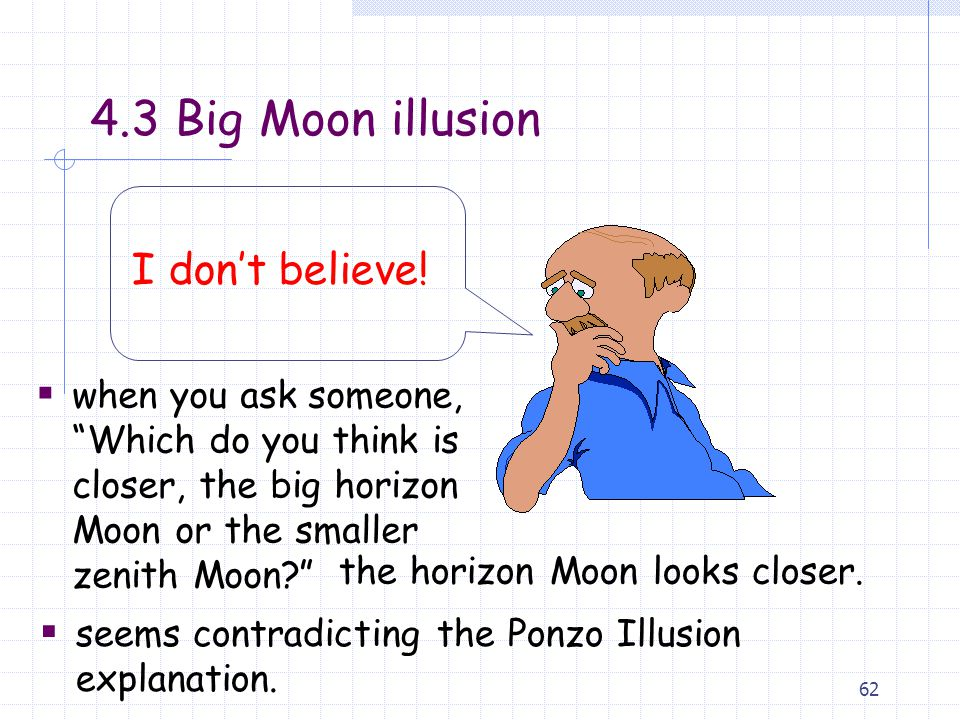 62  when you ask someone, Which do you think is closer, the big horizon Moon or the smaller zenith Moon? 4.3 Big Moon illusion I don't believe.