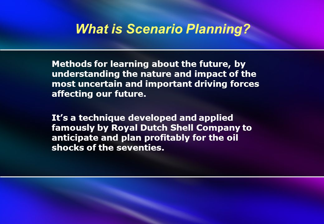 What is Scenario Planning.