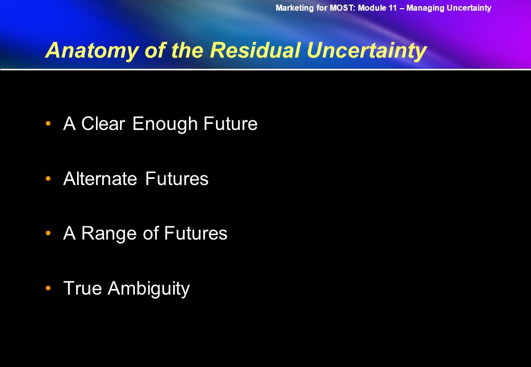 Marketing for MOST: Module 11 – Managing Uncertainty Remedies 1.Understand the technology emergence from birth to development to testing and finally into mass production.