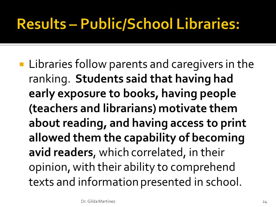  Libraries follow parents and caregivers in the ranking.
