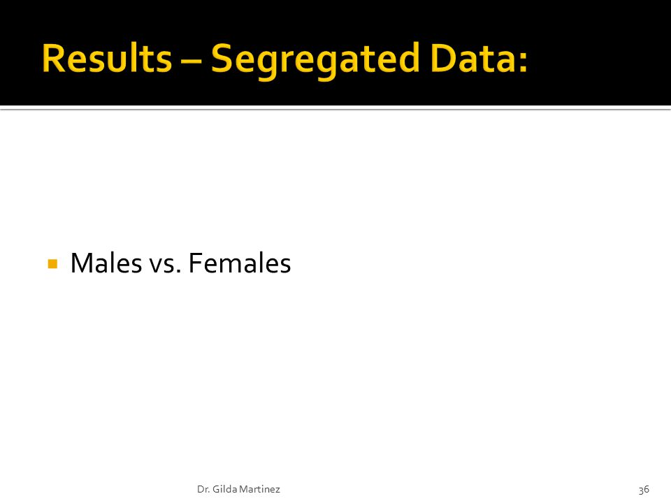  Males vs. Females 36Dr. Gilda Martinez