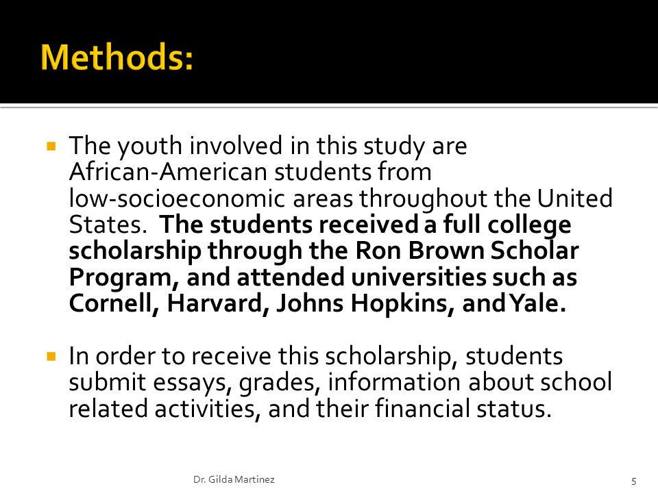  The youth involved in this study are African-American students from low-socioeconomic areas throughout the United States.