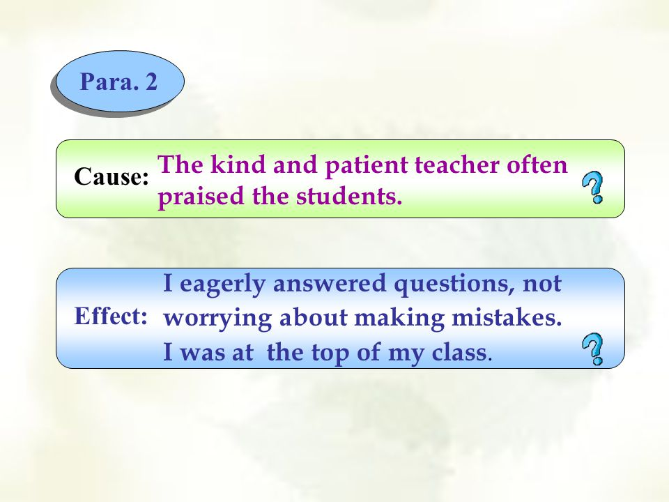 Para.2 The kind and patient teacher often praised the students.