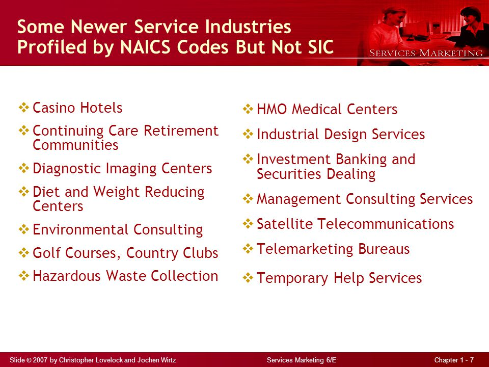 Slide © 2007 by Christopher Lovelock and Jochen Wirtz Services Marketing 6/E Chapter 1 - 7 Some Newer Service Industries Profiled by NAICS Codes But Not SIC  Casino Hotels  Continuing Care Retirement Communities  Diagnostic Imaging Centers  Diet and Weight Reducing Centers  Environmental Consulting  Golf Courses, Country Clubs  Hazardous Waste Collection  HMO Medical Centers  Industrial Design Services  Investment Banking and Securities Dealing  Management Consulting Services  Satellite Telecommunications  Telemarketing Bureaus  Temporary Help Services
