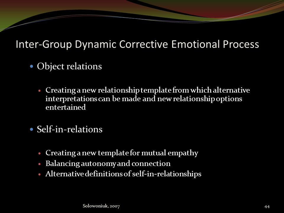 Inter-Group Dynamic Corrective Emotional Process Goals Ego Strengthening ego Strengthening ego defenses for adaptive response to real life situations