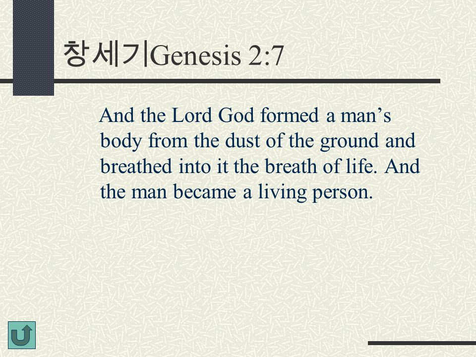 창세기 Genesis 2:7 And the Lord God formed a man's body from the dust of the ground and breathed into it the breath of life. And the man became a living