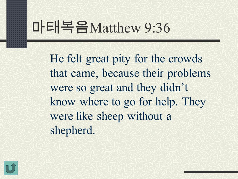 마태복음 Matthew 9:36 He felt great pity for the crowds that came, because their problems were so great and they didn't know where to go for help.