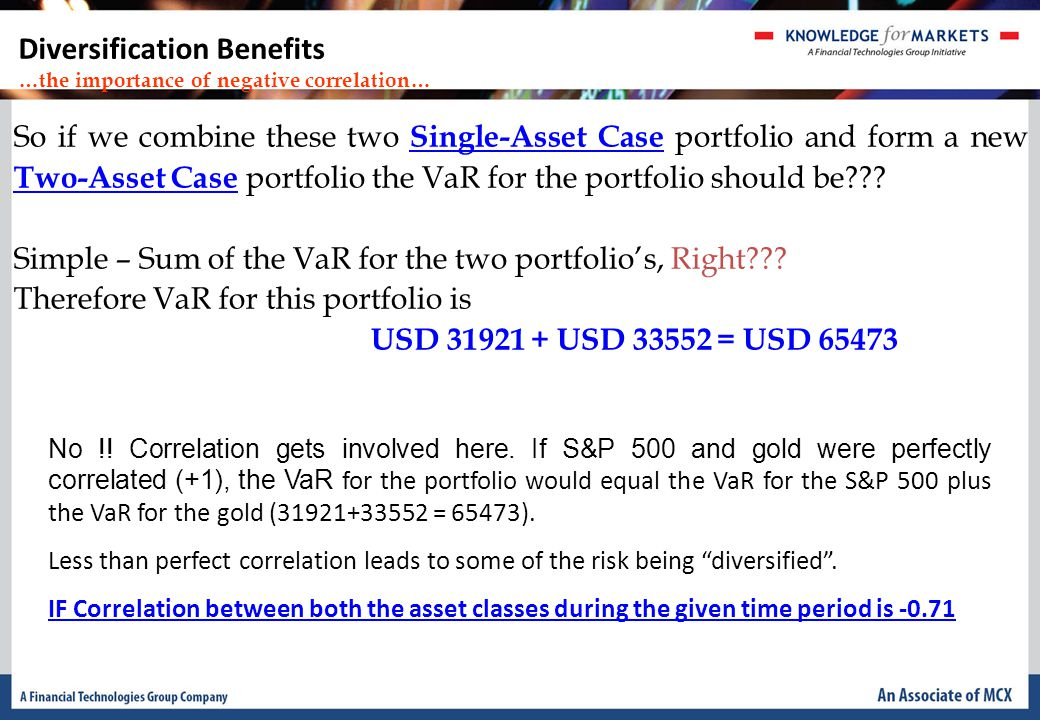So if we combine these two Single-Asset Case portfolio and form a new Two-Asset Case portfolio the VaR for the portfolio should be .