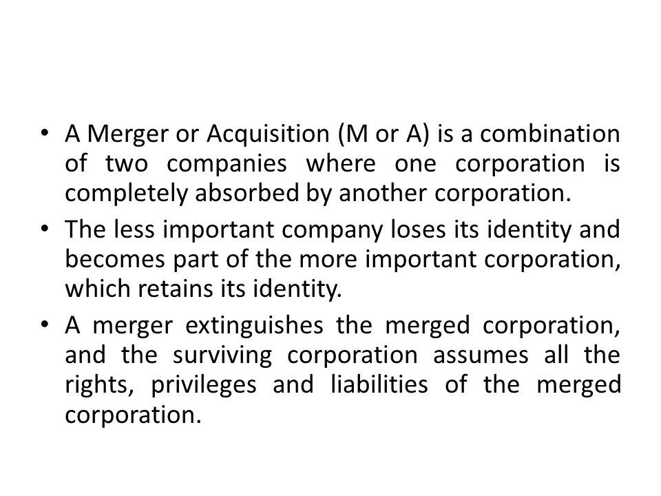 Consolidation is not a merger.
