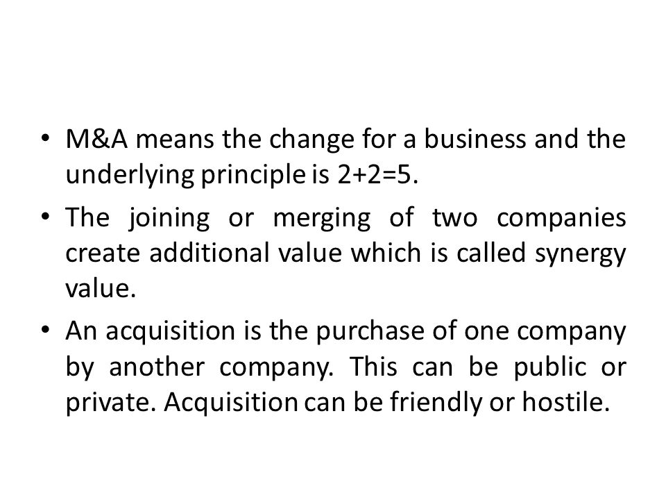 Acquisition usually requires to a purchase of a smaller firm by a larger one and the process of acquisition is also very complex with many dimensions influencing its outcome (tax and regulatory implications).