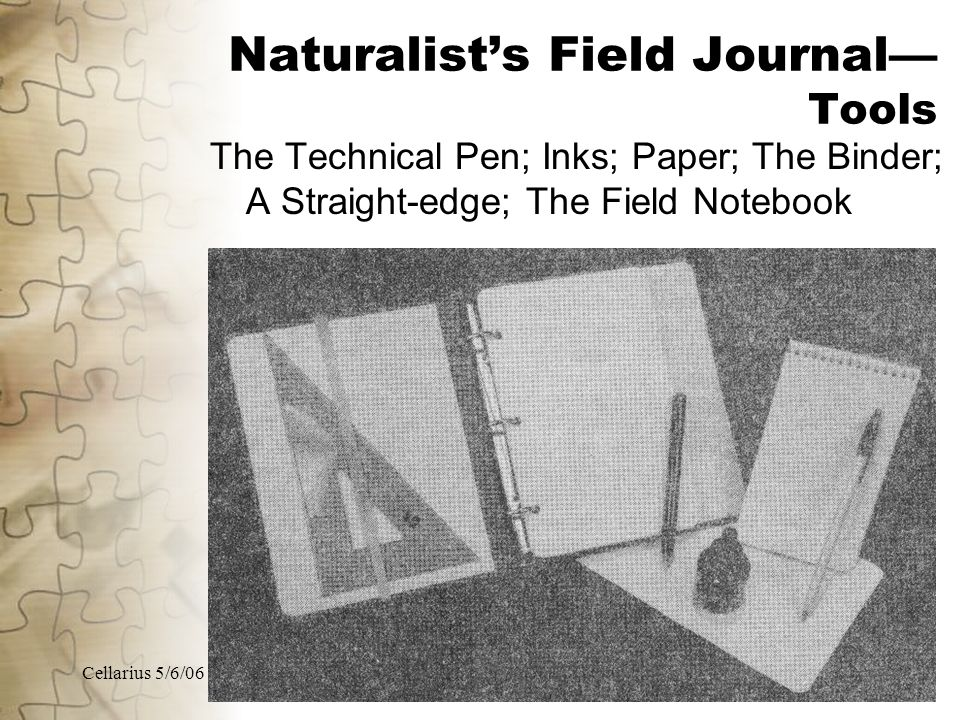 Cellarius 5/6/0617 Naturalist's Field Journal— Tools The Technical Pen; Inks; Paper; The Binder; A Straight-edge; The Field Notebook