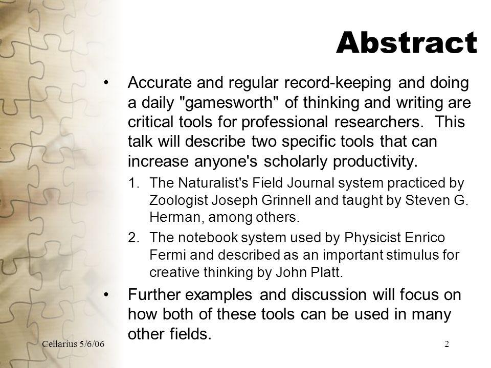 Cellarius 5/6/0613 4.Examples (2) Naturalist's Field Journal Steven G.