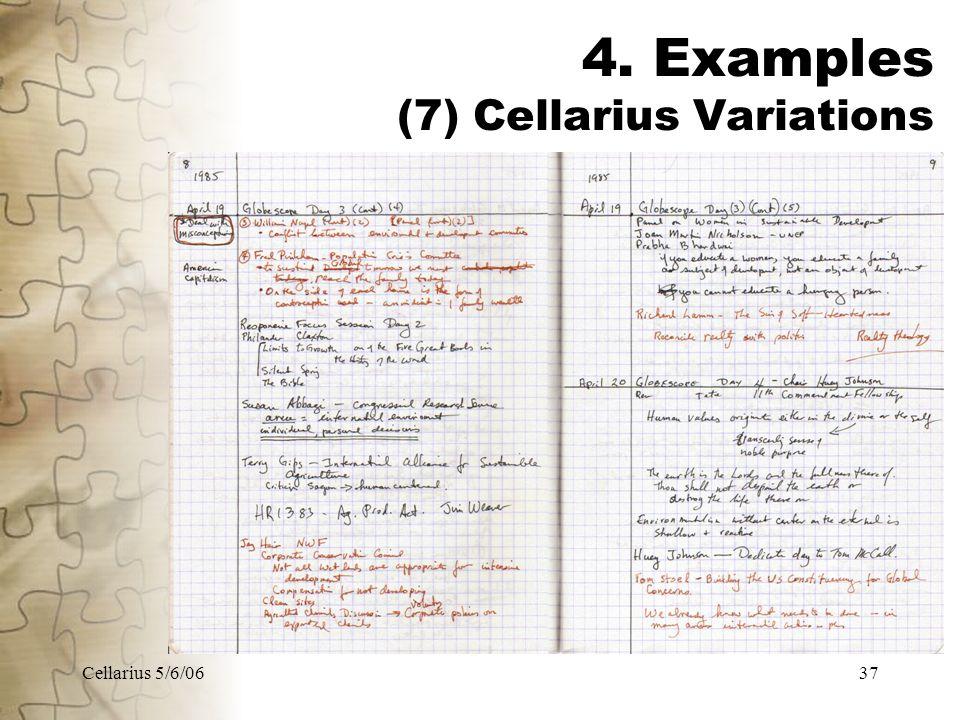 Cellarius 5/6/0637 4. Examples (7) Cellarius Variations