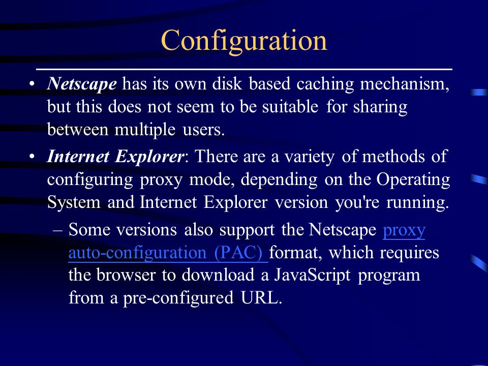 Configuration Netscape has its own disk based caching mechanism, but this does not seem to be suitable for sharing between multiple users.