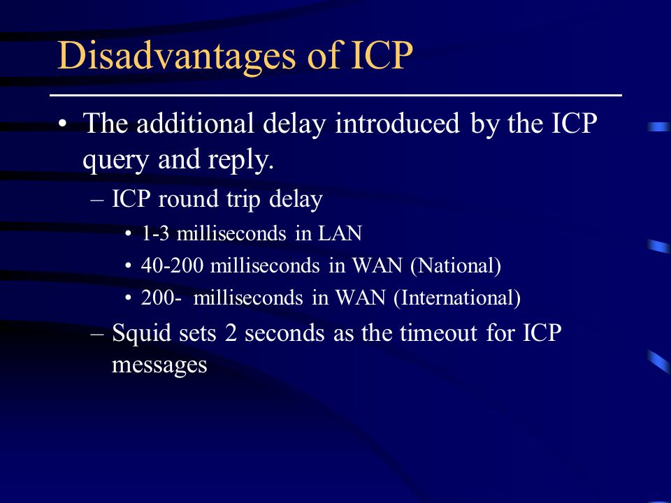 Disadvantages of ICP The additional delay introduced by the ICP query and reply.