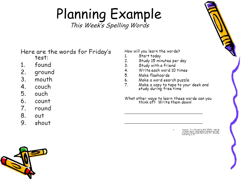 Planning Example This Week's Spelling Words Here are the words for Friday's test: 1.found 2.ground 3.mouth 4.couch 5.ouch 6.count 7.round 8.out 9.shout How will you learn the words.