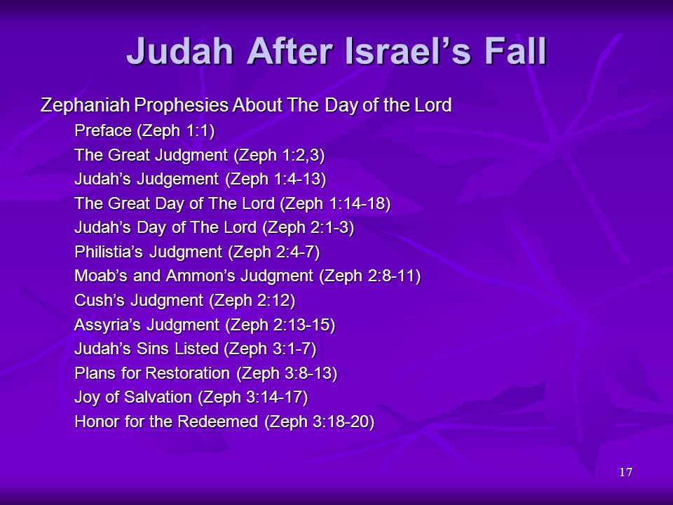 17 Judah After Israel's Fall Zephaniah Prophesies About The Day of the Lord Preface (Zeph 1:1) The Great Judgment (Zeph 1:2,3) Judah's Judgement (Zeph